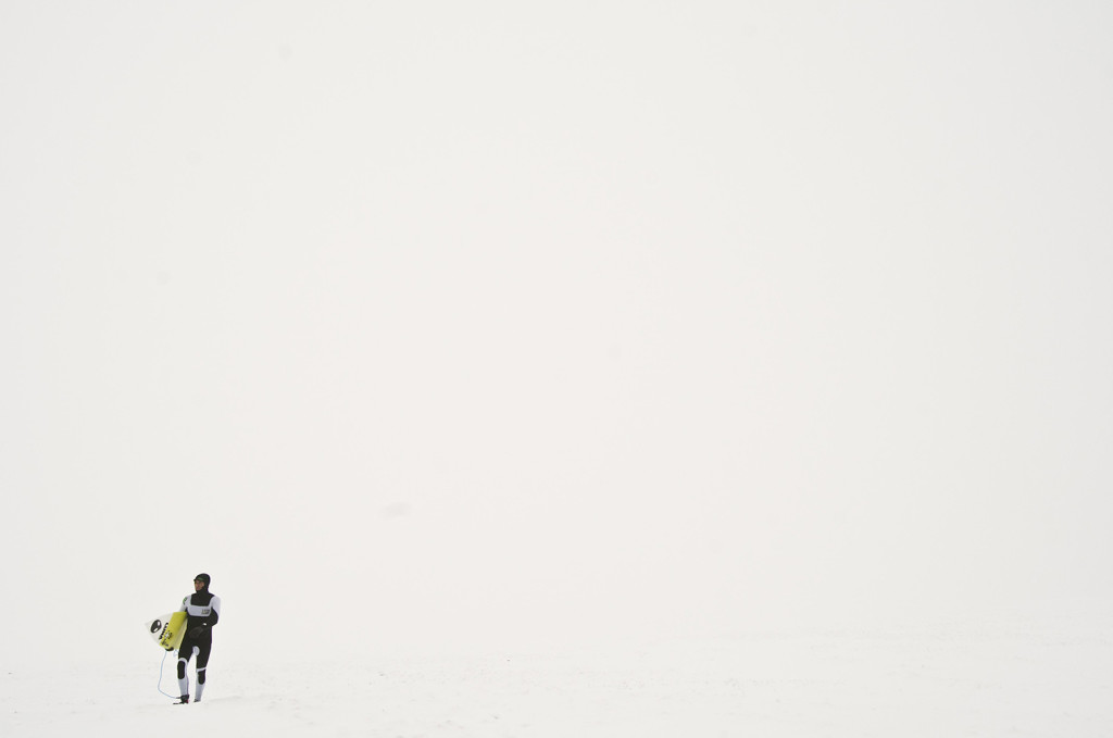 Conditions change fast in Iceland, what is a whiteout one minute, is clear and perfect a few hours later,  so walking off into a blizzard to surf isn't as silly as it may seem.