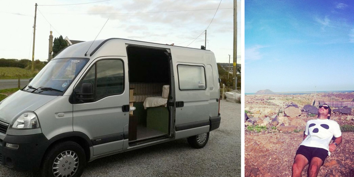 The van, and Max being completely over being in the van.