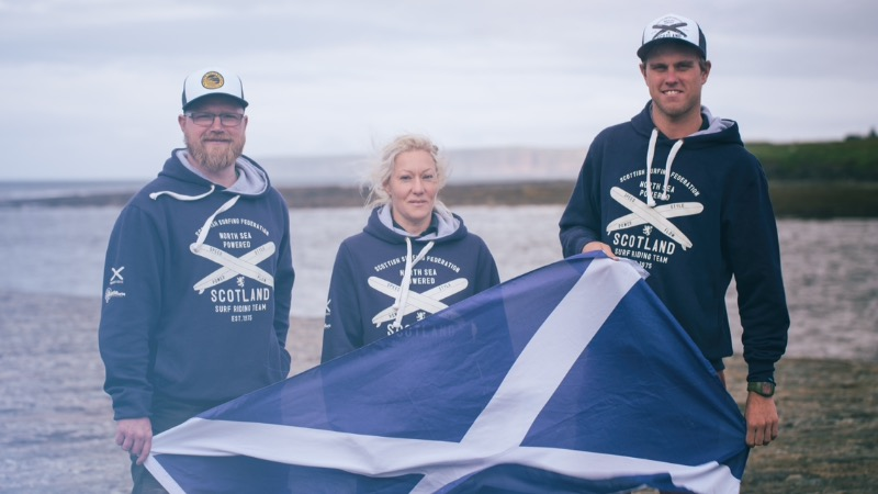 Three out of the seven Scotland EuroSurf team members from left to right; Chris Clarke, Shoana Blackadder and Mark Boyd