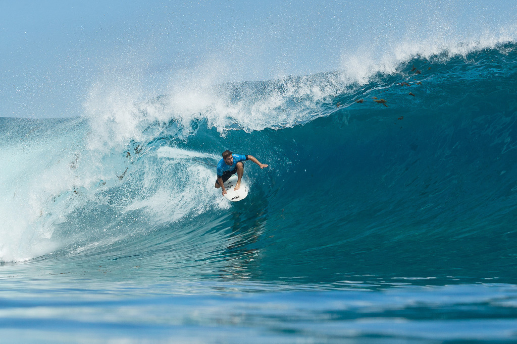 Aranburu defeated three times WSL World Champion Mick Fanning in Round 3