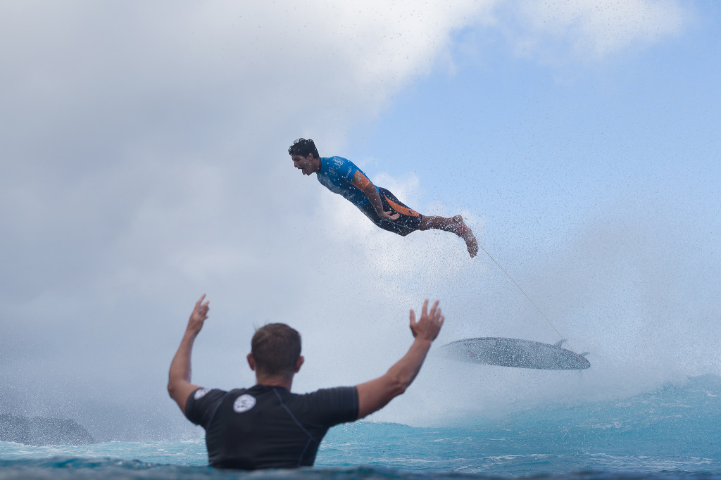 Reigning WSL World Champion and defending event winner Gabriel Medina soars through the air after completing a perfect 10 point ride during Round 4.