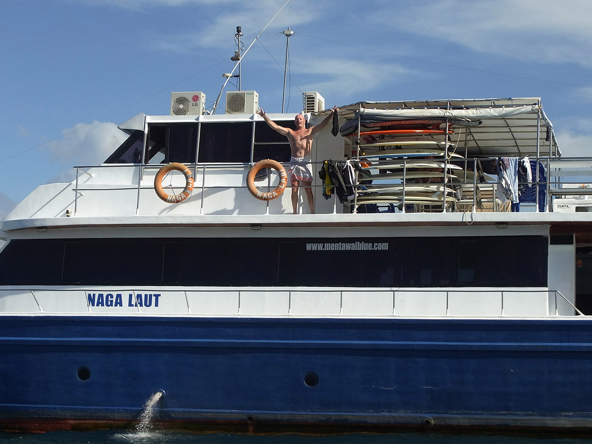 Brett on board the Naga Laut before falling off