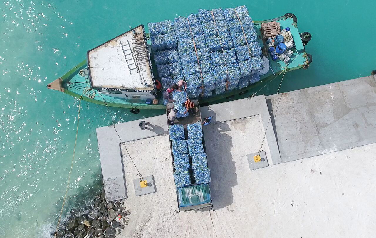 A Parley recycling boat in the Maldives. Image: Parley