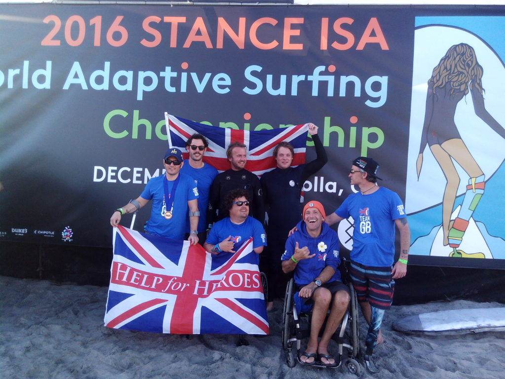 Peg and the rest of the British team at the World Adaptive Surf Champs.