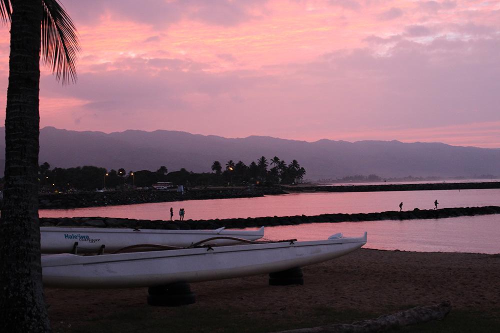 The sun sets over Haleiwa