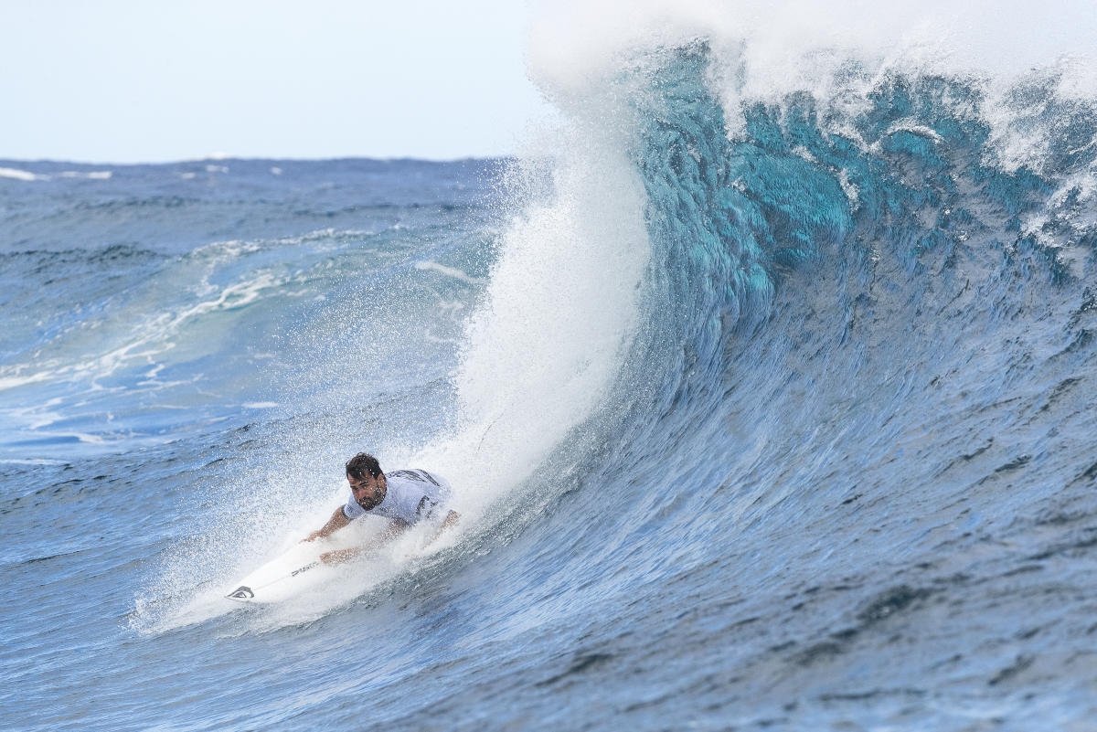 Basque surfer Aritz Aranburu gets barrelled on his backhand at Teahupoo, Tahiti