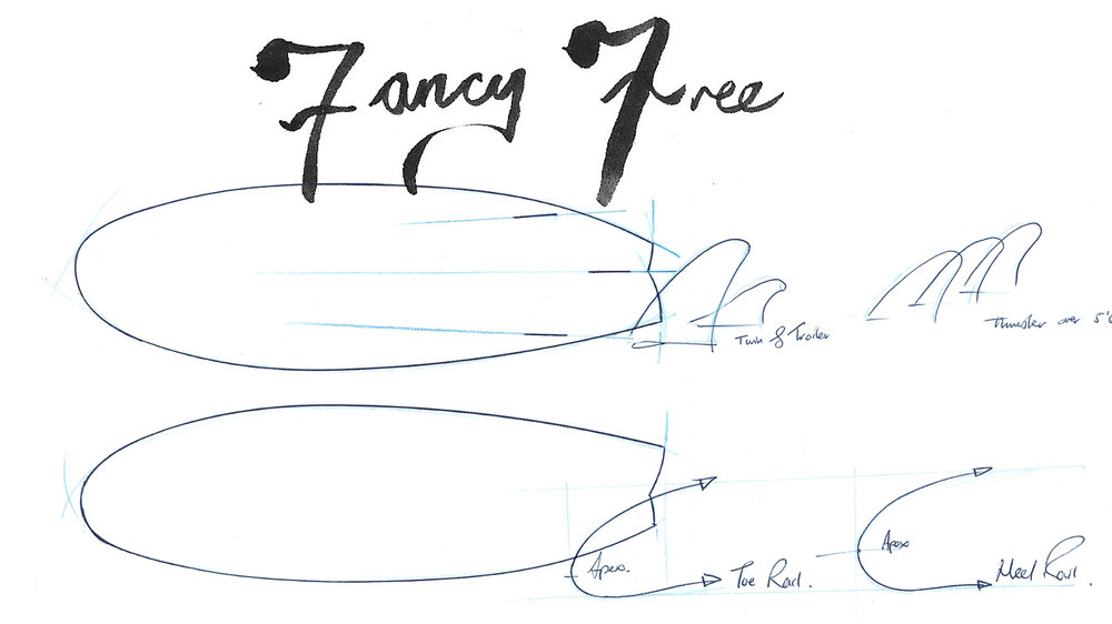 Donald Brink's asymmetrical Fancy Free surfboard model